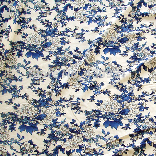 Blue and white poplin printed knitted fabrics
