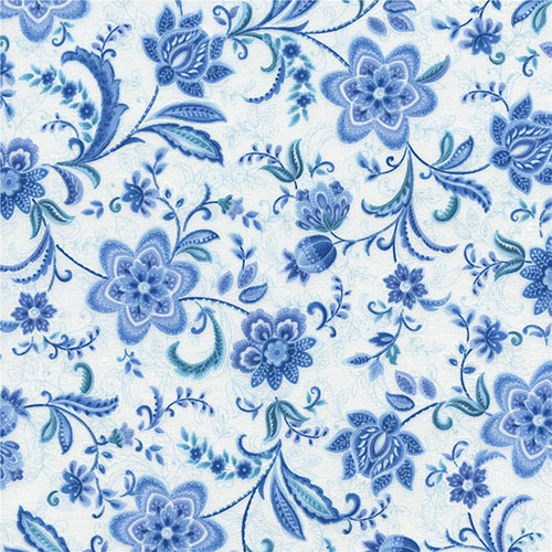 Blue flower design printed fabrics