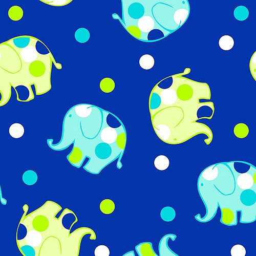 Elephant Blue Nursery Print Fabric