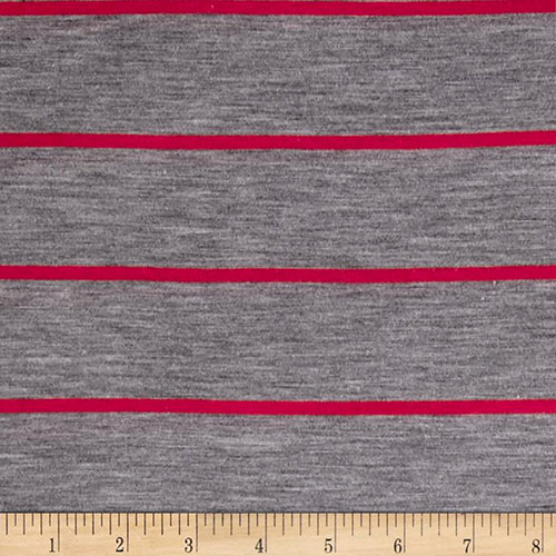 Gray with red syrip knitted yarrn dyed fabrics