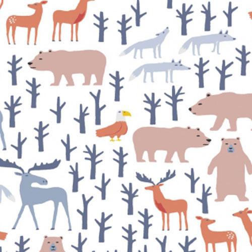 HIBERNATION-BROWN-FABRIC Nursery Print Fabric