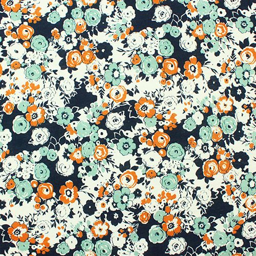 flower design printed knitted fabrics